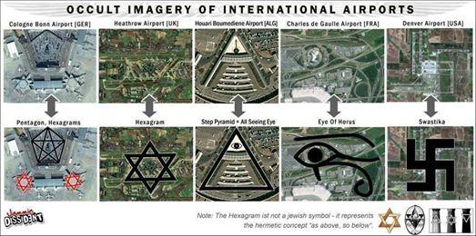 international airport and occult symbols