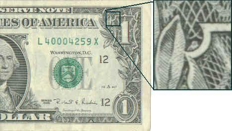 dollar bill and occult symbol