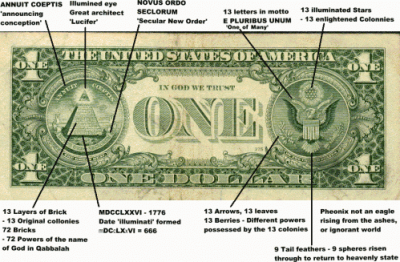 dollar bill and occult symbols
