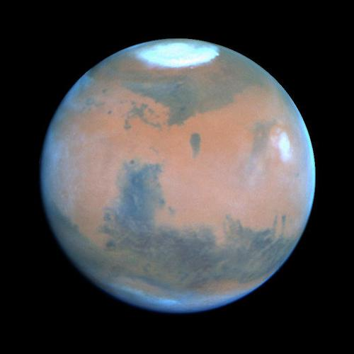 Mars real colors (with atmosphere and water)