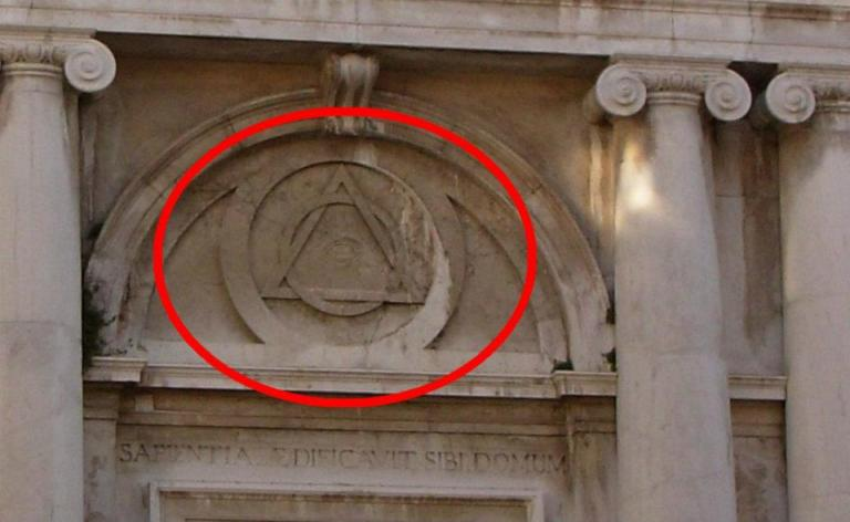 all seing eye and pyramid in church