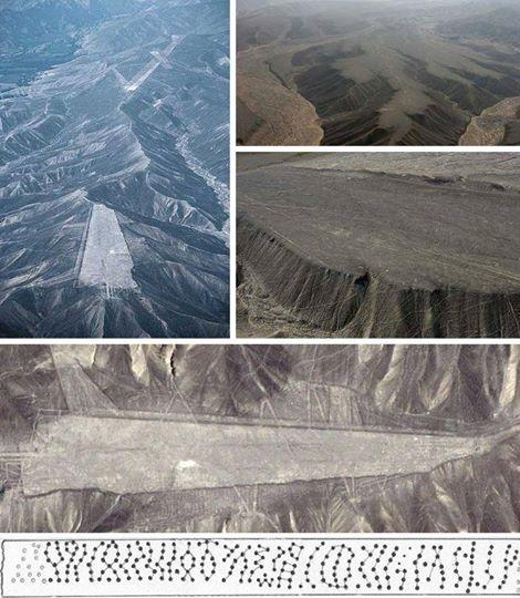CUTED NAZCA MOUNTAINS by who and wich kind of technology at this time?