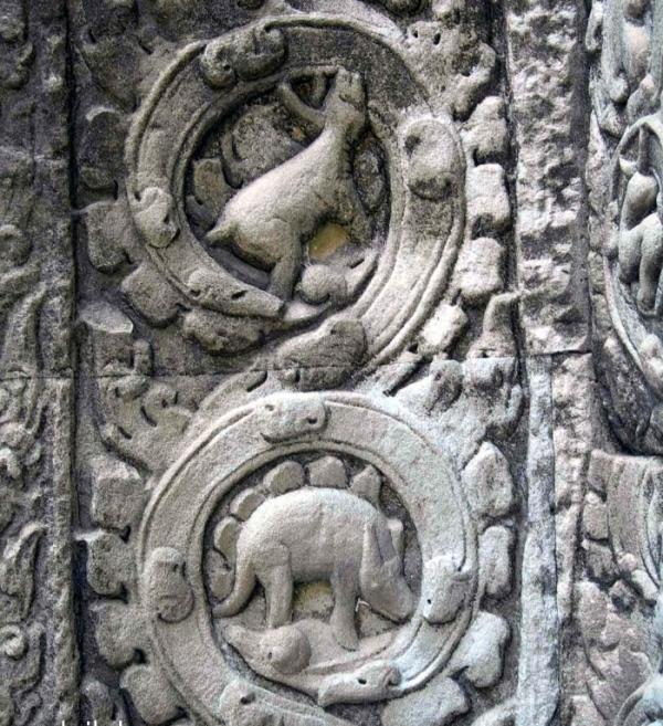 Alleged stegosaur carving- Ta Prohm Temple-Cambodia-2