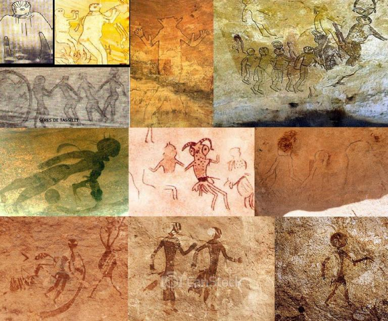 cave painting alien creatures