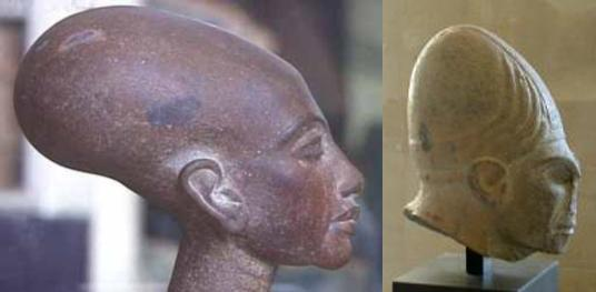 Elongated skulls statues